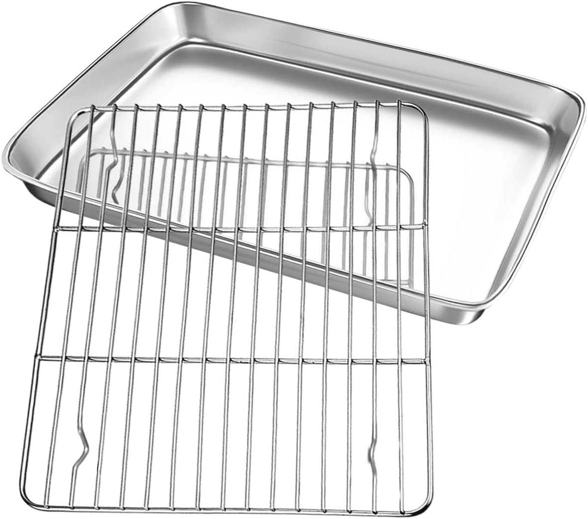 FODCOKI Toaster Oven Pans with Cooling Rack, 12.4 x 9.7 x 1 inch Stainless Steel Cookie Sheet, Baking Tray Bakeware Replacement Set, Sturdy Heavy Mirror Finish Dishwasher Safe