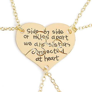 c1257fbdccab9 3 Pcs Best Friends Forever Engraved Necklace Broken Heart Charm Pendant Set  BFF Friendship Necklace