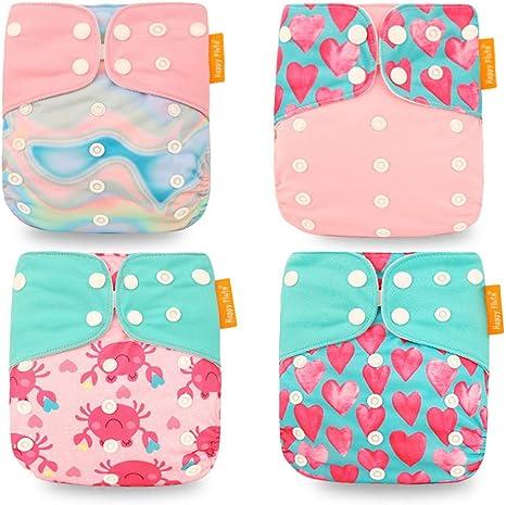 HahaGo Pañal de tela para bebé Pañales reutilizables lavables Inserte el de bolsillo todo en uno para la mayoría de los bebés y niños pequeños (4 piezas, Amor rosa): Amazon.es: Bebé