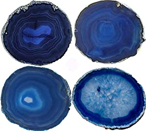 JIC Gem 3.5-4'' Dyed Blue Color Sliced Brazilian Agate Coasters Polished Natural Geode with Rubber Bumpers for Small Size Cup Home Decoration Set of 4
