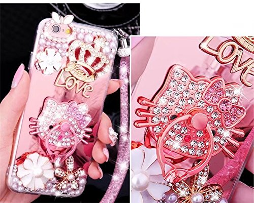 iPhone 7 Plus Mirror Case,iPhone 7 Plus Diamond Case,Handmade Luxury Bling Pearl Diamond Crystal Rhinestone Ring Brackets Mirror Cover Soft TPU Phone Case For iPhone 7 Plus 5.5 inch,NO6