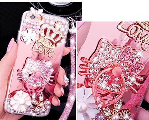 iPhone 6 Plus Mirror Case,iPhone 6 Plus Crystal Rhinestone Case,Luxury Bling Pearl Diamond Crystal Rhinestone Mirror Cover Soft TPU Phone Case For iPhone 6 Plus/6S Plus 5.5 - Bling Hello Case Kitty