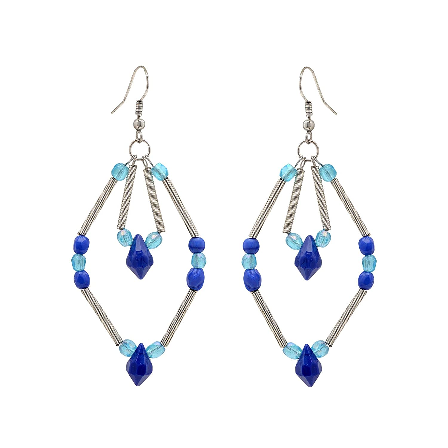 Zephyrr Cocktail Blue//White//Red Alloy Drop Earrings Set Of 3 Layered Silver Tone CO-1189