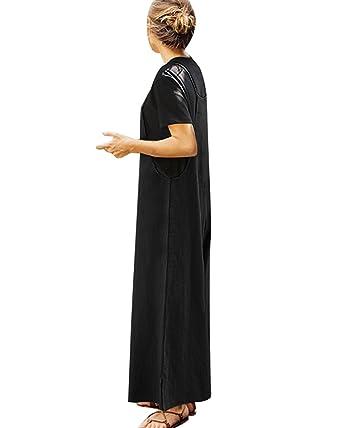 c9da3fd5aef6 Amazon.com  StyleDome Fashion Women Casual Loose Cotton Solid Jumpsuit Long  Suspender Overalls Bib Pants Plus Size Romper  Clothing