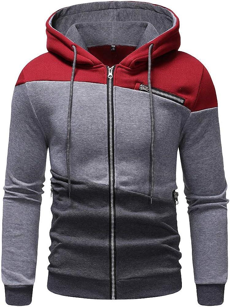 TAGGMY Jacket Men Fashion Winter Warm Gray Wine Red Coat Color Patchwork Hooded Zipper Pocket Sweatshirt Sport Outwear XXL