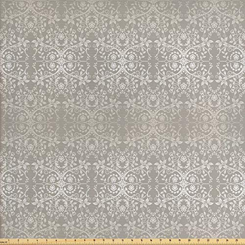 Ambesonne Grey Fabric by The Yard, Victorian Lace Flowers and Leaves Retro Background Old Fashioned Graphic, Decorative Fabric for Upholstery and Home Accents, 3 Yards, Warm Taupe (Victorian Fabric)