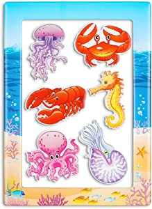 Fridge Magnets Magnetic Photo Frame 7 Packs Sea Creature Cute Kids Set Decoration for Refrigerator Home classroom Office,Best Gift