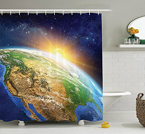 Outer Space Decor Collection Celestial View of Sunrise over the Planet Earth with Star Field Beyond Pacific Ocean View Polyester Fabric Bathroom Shower Curtain Set with Hooks Multi