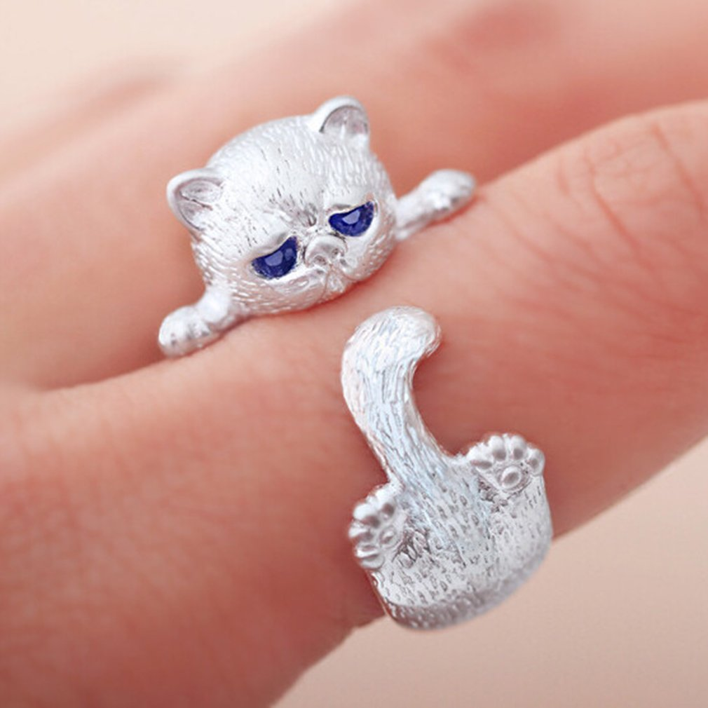 Yesiidor Cat Ring Cute Animal Shape Opening Ring Women Ring Jewellery Accessories