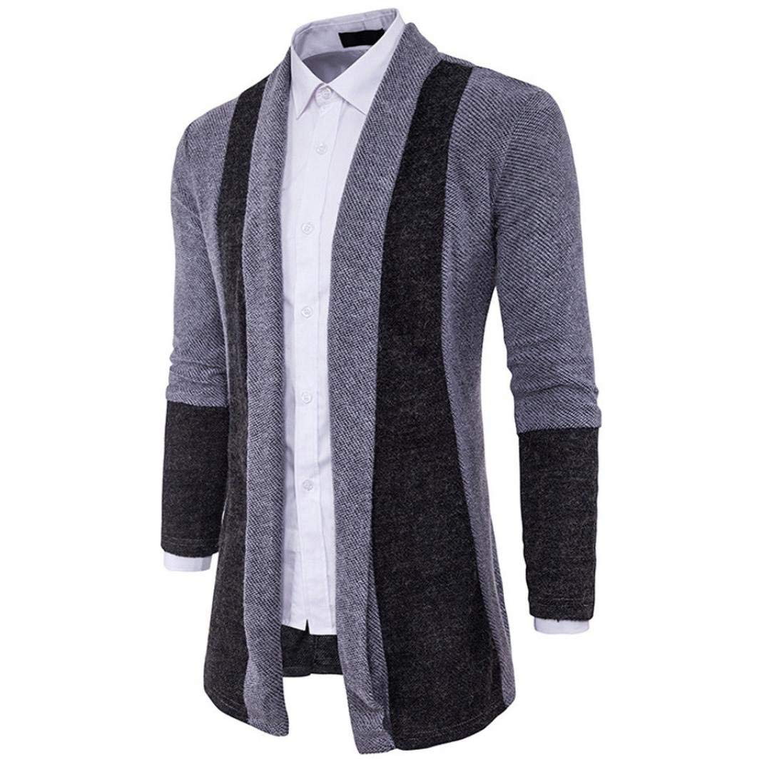 Tag XXL = US XL, Gray Forthery Mens Slim Fit Long Sleeve Casual Knit Long Cardigan