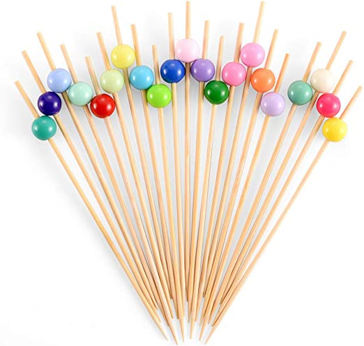 Bamboo Cocktail Skewers 5.5 Inch, Fancy Appetizer Toothpicks - Decorative  Party, Appetizers, Drink, Fruit, Sandwich Picks for Wedding and Baby  Shower.