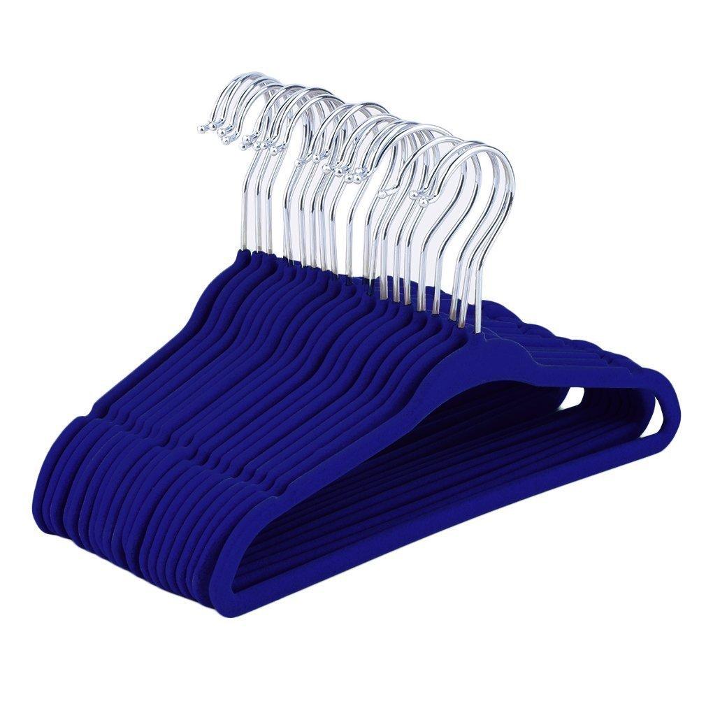 JSLHOME - Perchas de terciopelo para bebé, 30 unidades, color rosa azul azul