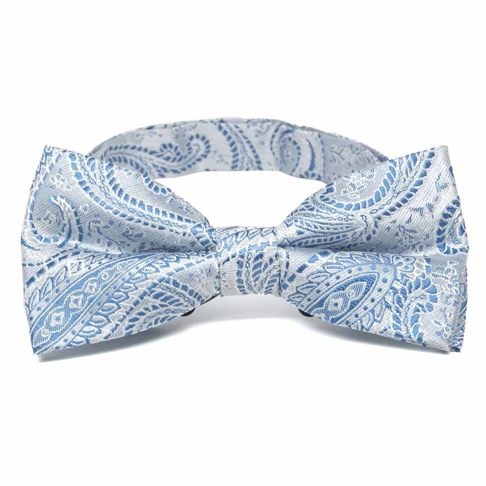 TieMart Pastel Blue Clara Paisley Band Collar Bow Tie