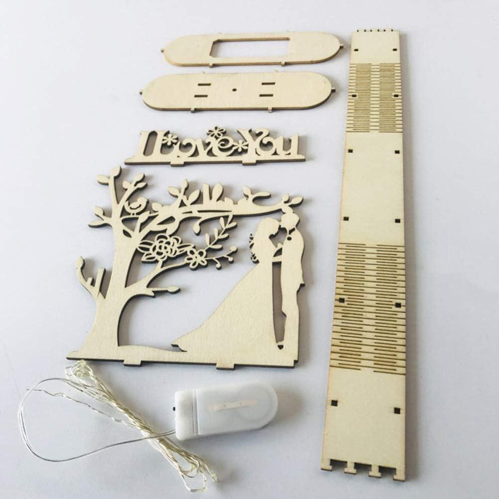 Amosfun Veilleuse en bois led lampe de nuit table top 3d sculpture lampe pour mariage anniversaire d/écoration ornement