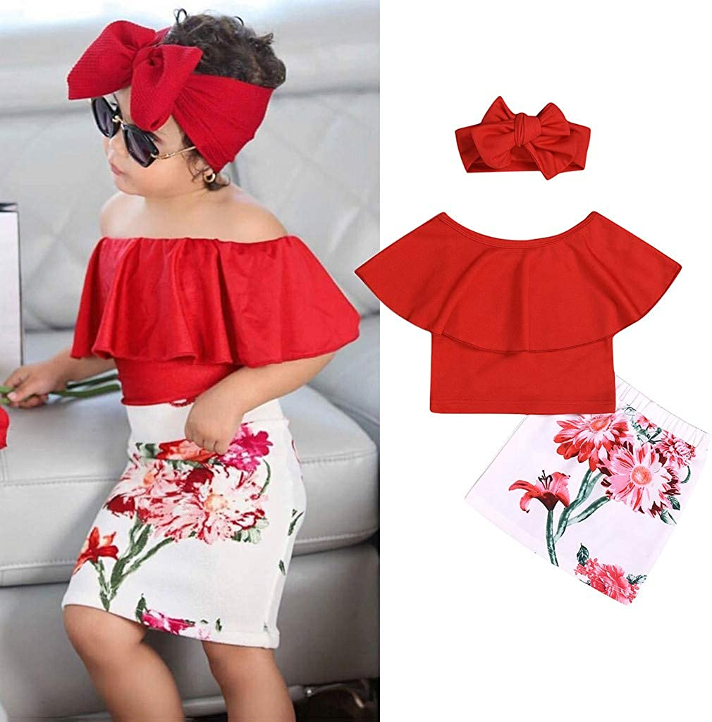 Baby Toddler Girls Summer Clothes Set for 2-7 Years Old Kids Off Shoulder Shirt Top Flower Skirt Headband Outfit