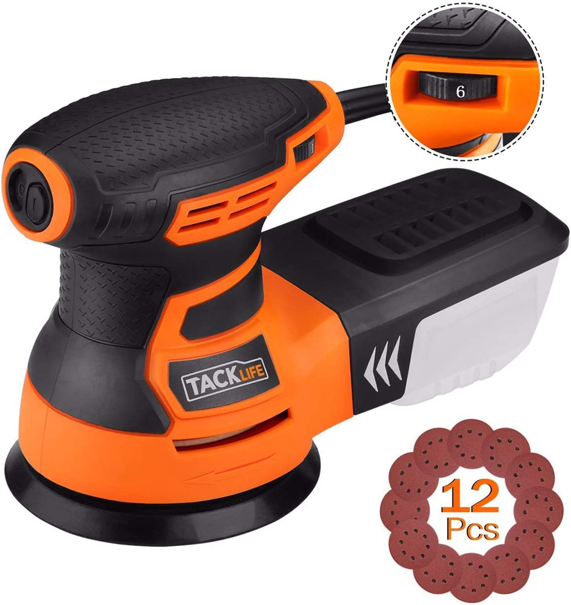TACKLIFE Orbital Sander, 3.0A 5-Inch Random Orbit Sander with 12Pcs Sandpapers, 6 Variable Speed 13000RPM Electric Sander Machine, High Performance Dust Collection System, Ideal for DIY – PRS01A