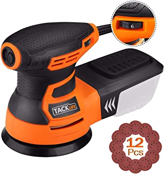 Tacklife 5 Inch 3.0A Random Orbit Sander with 12-Pieces Sandpapers