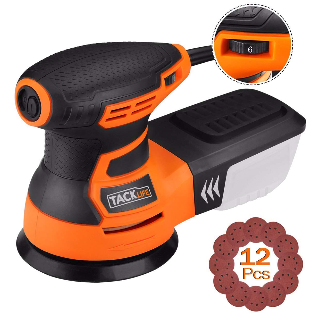 TACKLIFE Orbital Sander, 3.0A 5-Inch Random Orbit Sander with 12Pcs Sandpapers, 6 Variable Speed 13000RPM Electric Sander Machine, High Performance Dust Collection System, Ideal for DIY - PRS01A by TACKLIFE