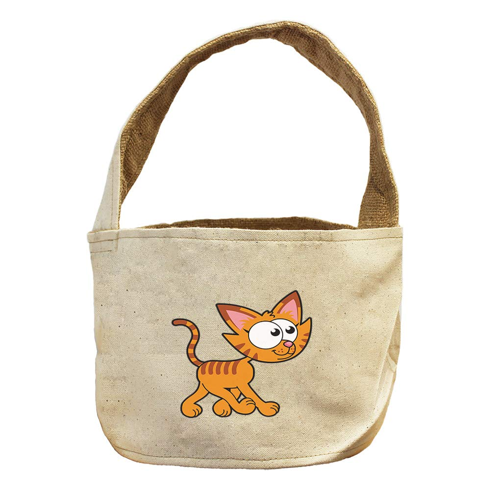 Cat Walking Right Animals Canvas and Burlap Storage Basket