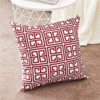 CHOUREN Geometric Wine Red Throw Pillow Cases Microfiber Decorative Cushion Covers For Sofa (Color : A, Size : 40x40cm)
