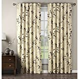 Window Elements Meridian Printed Cotton Blend Rod Pocket and Back Tabs 104″ x 84″ Curtain Panel Pair, Charcoal