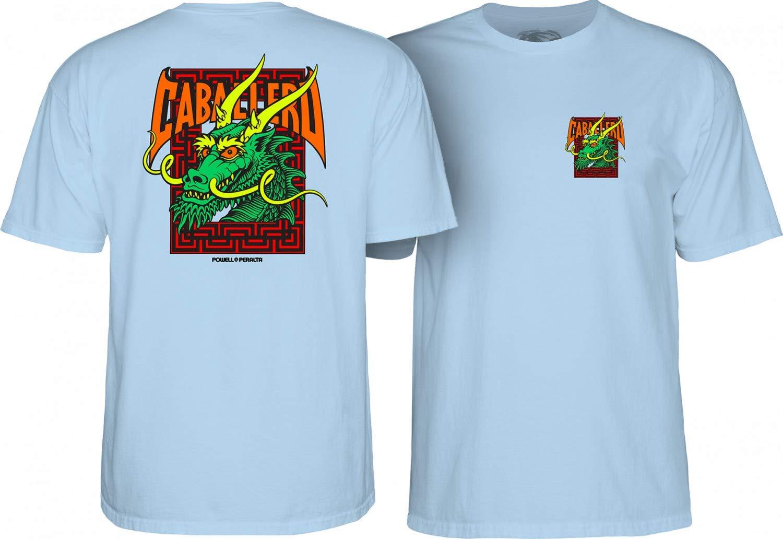 Powell Peralta Steve Caballero Green Dragon and Bats Men's Short Sleeve T-Shirt - Powder Blue - XL