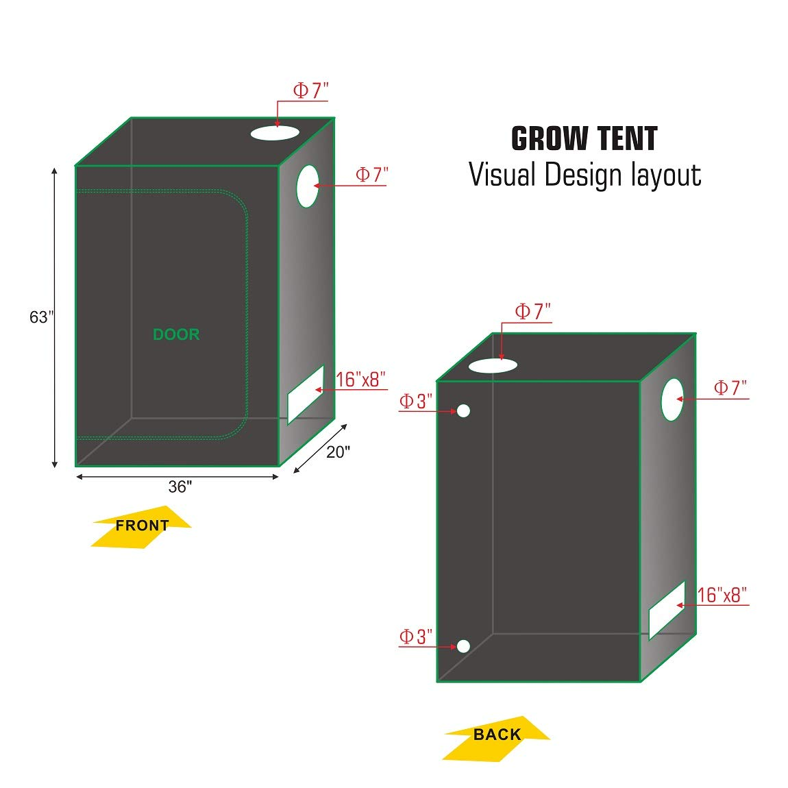 "TopoLite Full Range Multiple Sized 36""x20""x63"" Indoor Grow Tent Room 600D Mylar Hydroponic Growing Plant w/Plastic Corner (36""x20""x63"")"