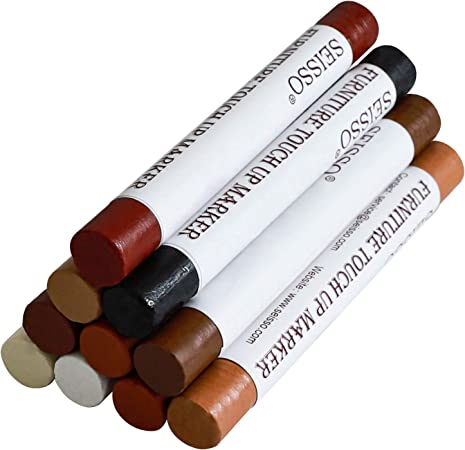 12Pcs PIECE FURNITURE REPAIR MARKERS TOUCH UP Fillers 6 Wood Shades Crayons NEW