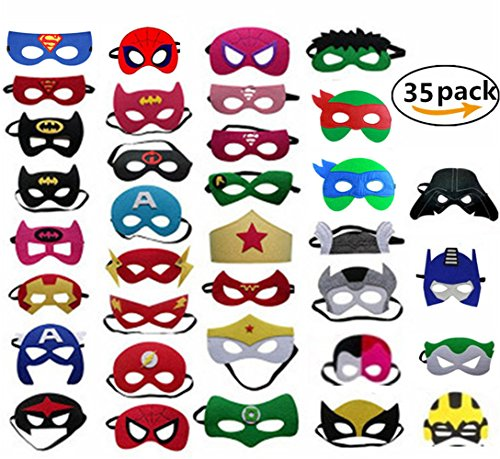 Yizeda Superheroes Party Masks for Children,Party Favors with 35pcs Perfect Fit for Children Aged (Real Thor Costume)