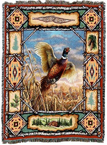 Pure Country Weavers | Pheasant Lodge Cabin Hunting Decor Woven Tapestry Throw Blanket with Fringe Cotton USA 72x54