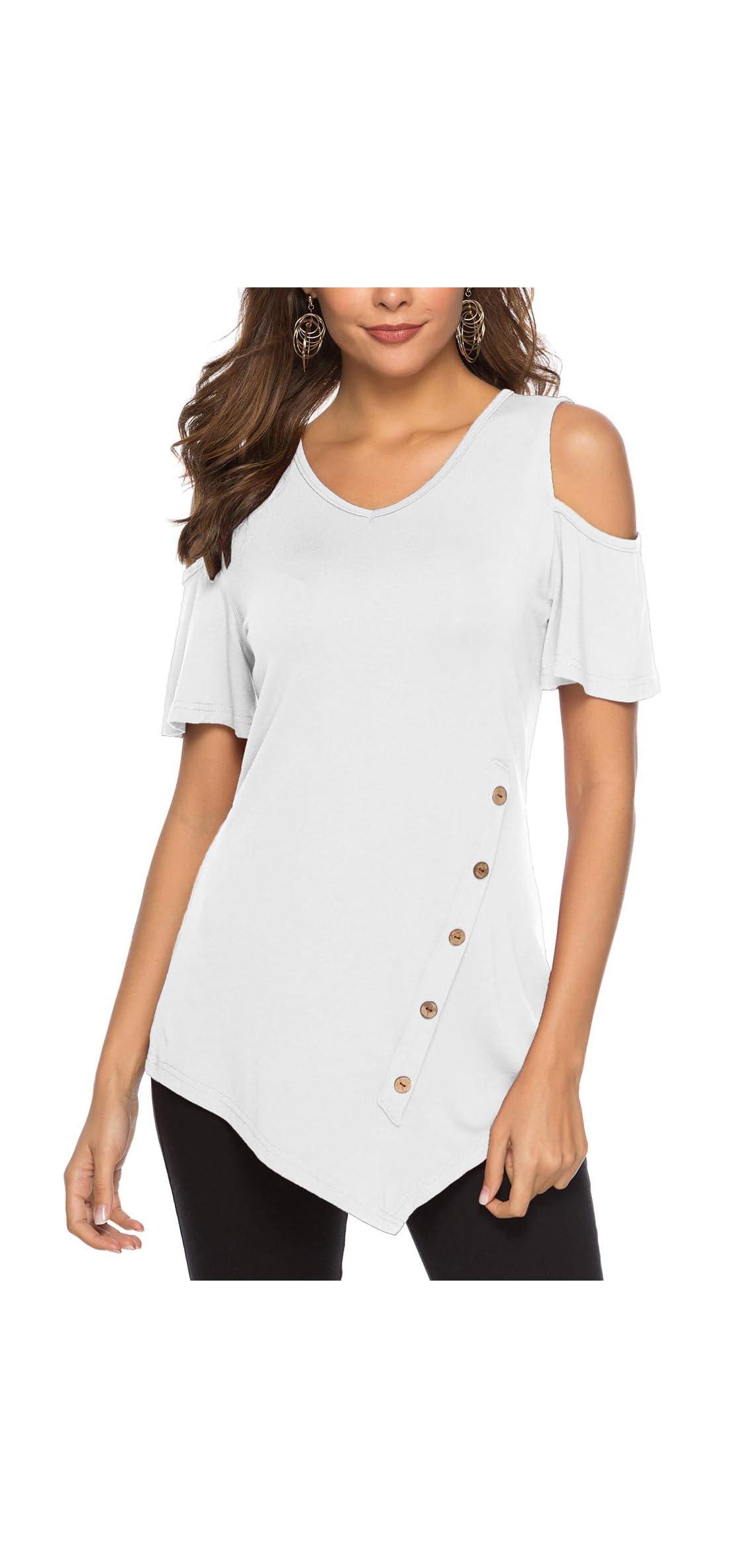 Women's Short Sleeve Tee Tops Cold Shoulder Scoop Neck Tunic