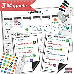 "Magnetic Dry Erase Refrigerator Calendar - 17"" x 11"" - Monthly Weekly Reusable Fridge Meal Planner - Large Whiteboard Kitchen Magnet Chore Chart - Grocery & To Do List - Erasable White Board Bulletin"