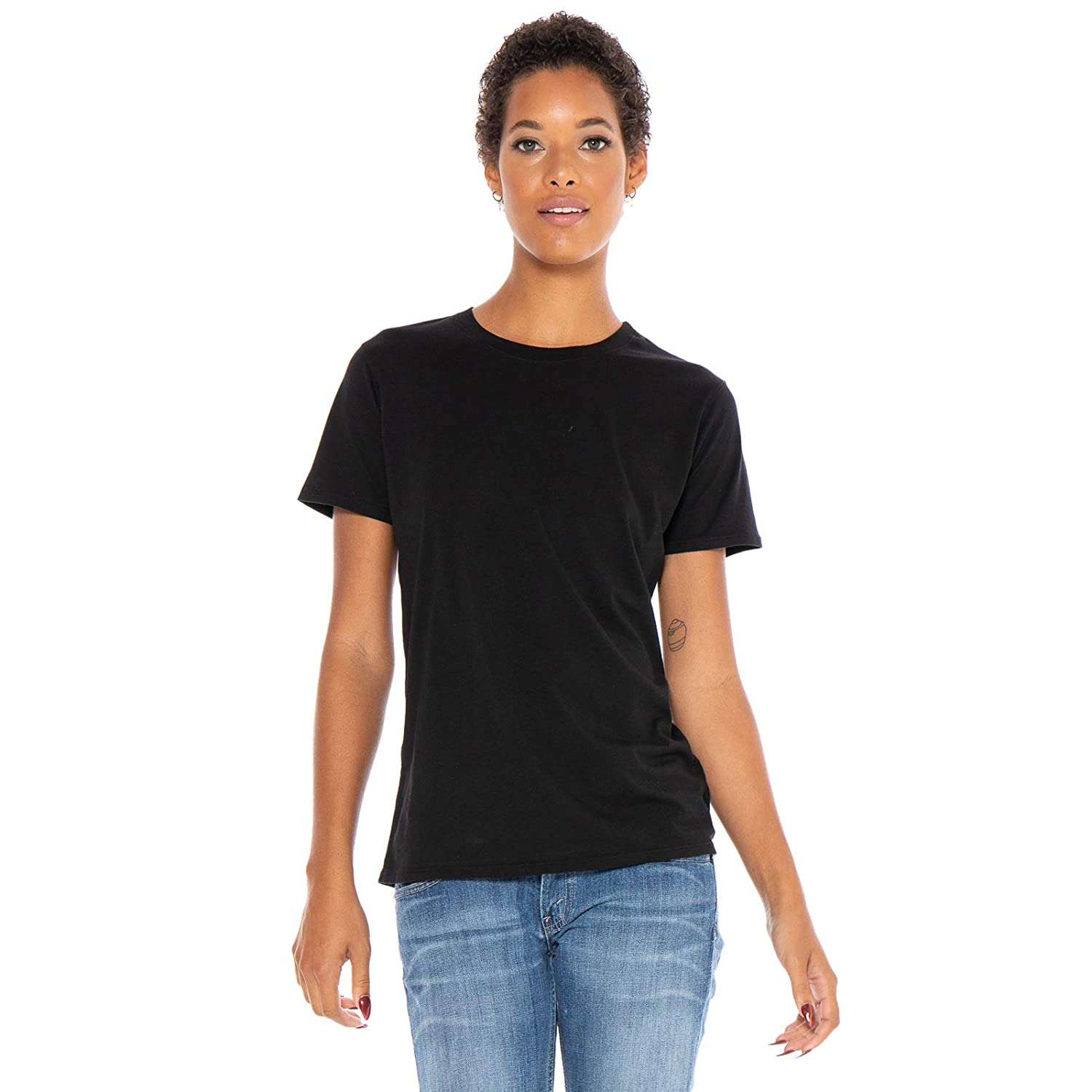 Black Women's Designer TShirt Lightweight Boy Fit Short Sleeve Crew Neck Organic Cotton PreShrunk Embroidered  Made in USA