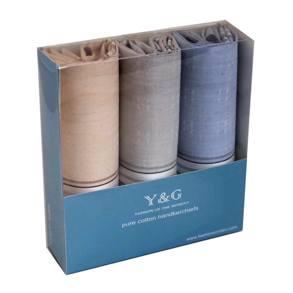 YEA0202 Solid 3 Of Set With Free Box Y&G Mens Cotton Handkerchiefs - Light Sky Blue,Gainsboro,Papaya Whip