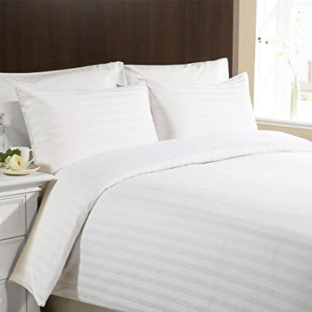Amazing Double, White, Satin Stripe Duvet Cover And Pillowcase Bed Set By VICEROY  BEDDING