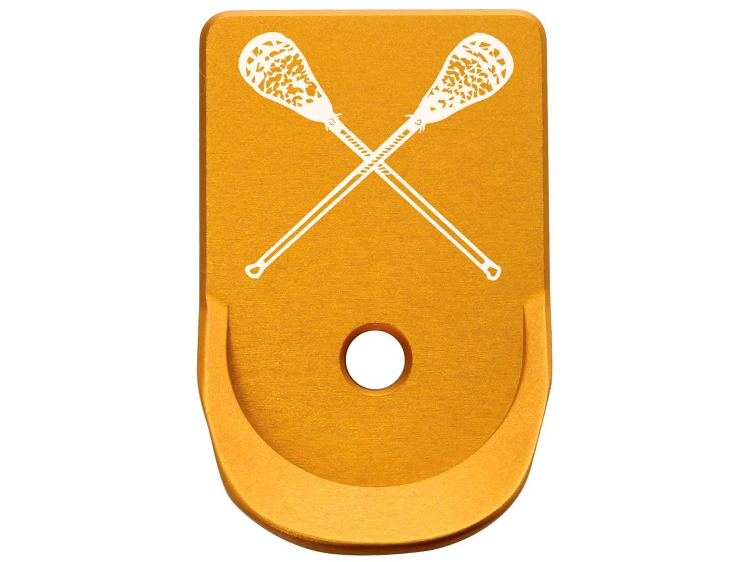 for Glock Gen 1-5 Finger Extended Magazine Floor Base Plate 9MM .357 .40 NDZ Gold Lacrosse Sticks Crossed