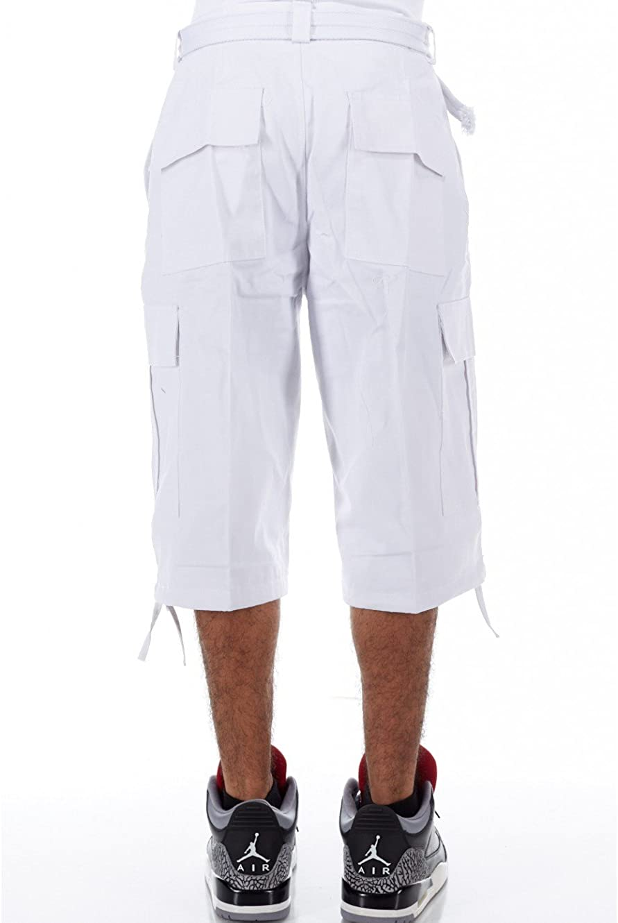 30, White GENX Mens Basic Belted Hip Hop Long Cargo Shorts P210AS