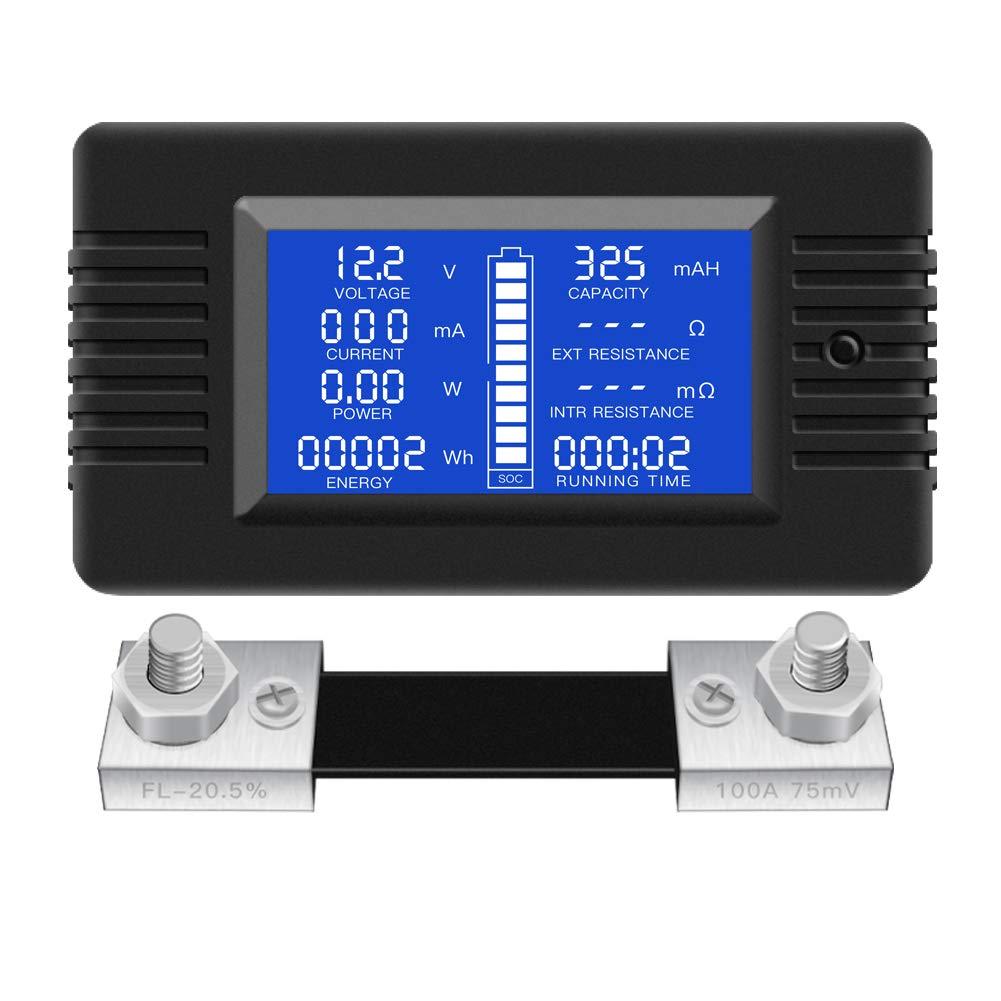 Car Battery//12V Battery//Monitor//48V Solar Panel DC Multifunction Battery Monitor Meter,0-200V 0-300A LCD Display Digital Current Voltage Power Energy Multimeter Ammeter Voltmeter