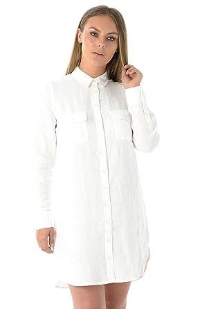 cc1528e4f7 Ex Fat Face Ladies Longline Linen Shirt (100% Linen) White  Amazon.co.uk   Clothing