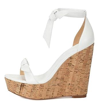 9e18fc8ac538 FF Sandales pour Femmes, Sandales compensées - Blanches - Chaussures  élégantes - Sac