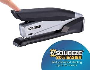 Bostitch Office Executive Stapler - 3 in 1 Stapler - One Finger, No Effort, Spring Powered Stapler, Black/Gray (INP20)