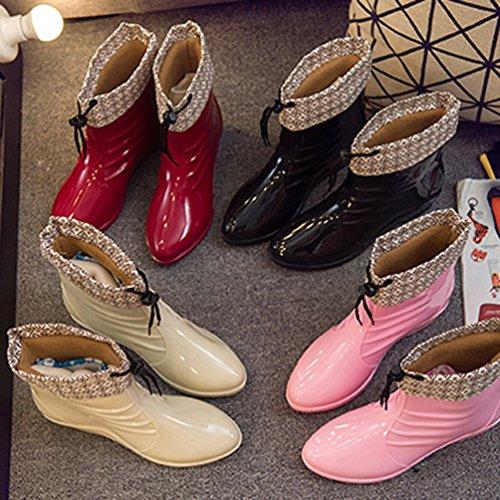 Chelsea Mujer de Botas de Zapatos Lluvia Casual Agua Bota Rojo Impermeable Xinwcang Moda aY1q4
