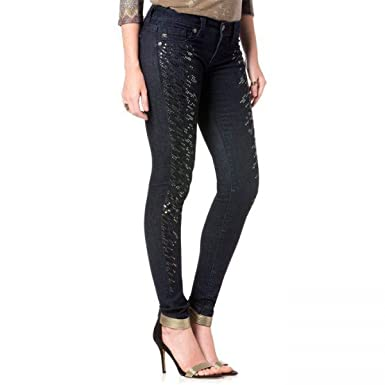 66f6dfefa9077 Miss Me Super Skinny Sequin Party Blue Jeggings 31 Inseam at Amazon Women's  Clothing store: