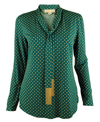 Michael Kors Women's Chain Fringe Tie Neck Blouse Top-DSG-XS