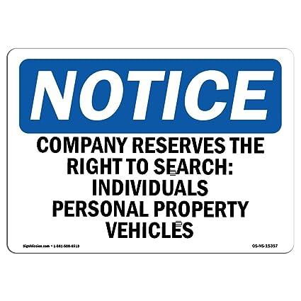 Letrero de Osha - Aviso de la empresa que reserva el derecho ...