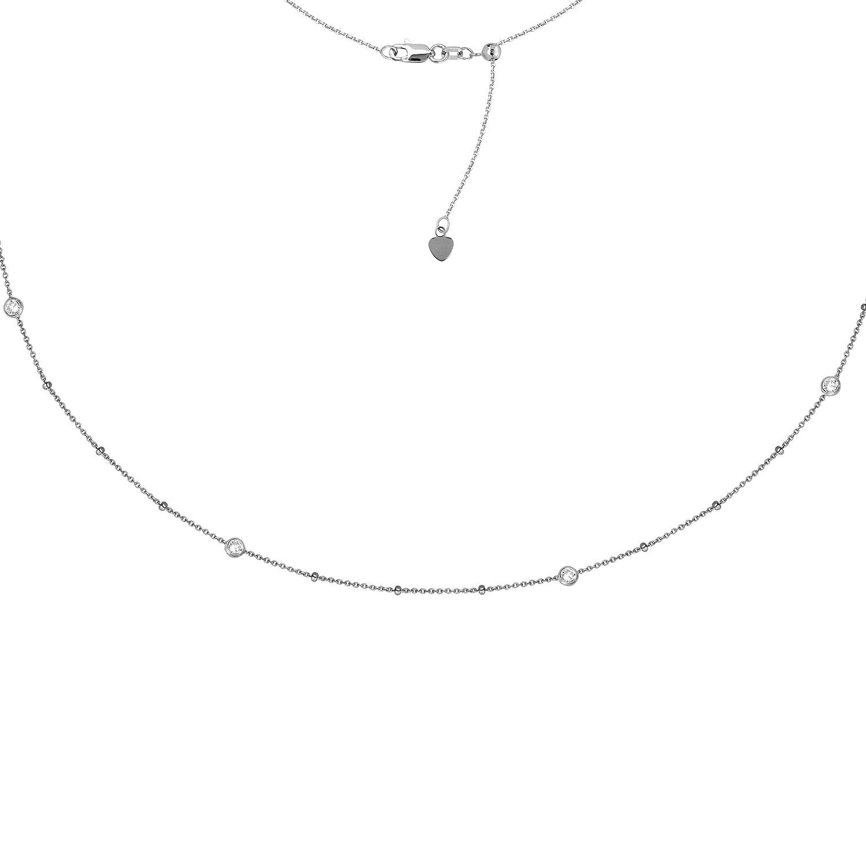 4 Pc Clear Cubic Zircon Adjustable Choker Neck DiamondJewelryNY Choker Necklace