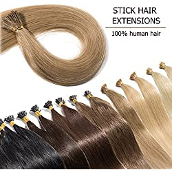 "100 Strands I Tip Hair Extensions Human Hair Highlight Dark Blonde 18 Inch Soft Straight Remy Hair Pre Bonded Stick Shoelace Tips—18"", 27, 50g"