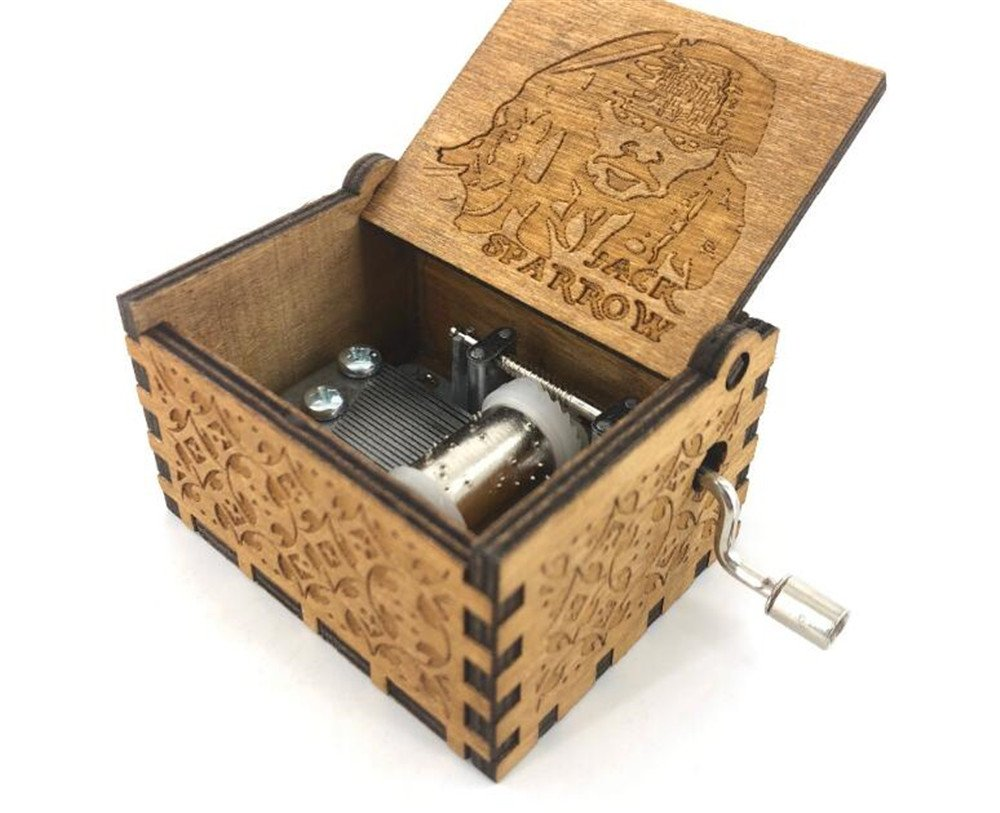 Cuzit Wooden Hand-Crafted Jack Sparrow from Pirates of the Caribbean plays melody Davy Jones Music Box