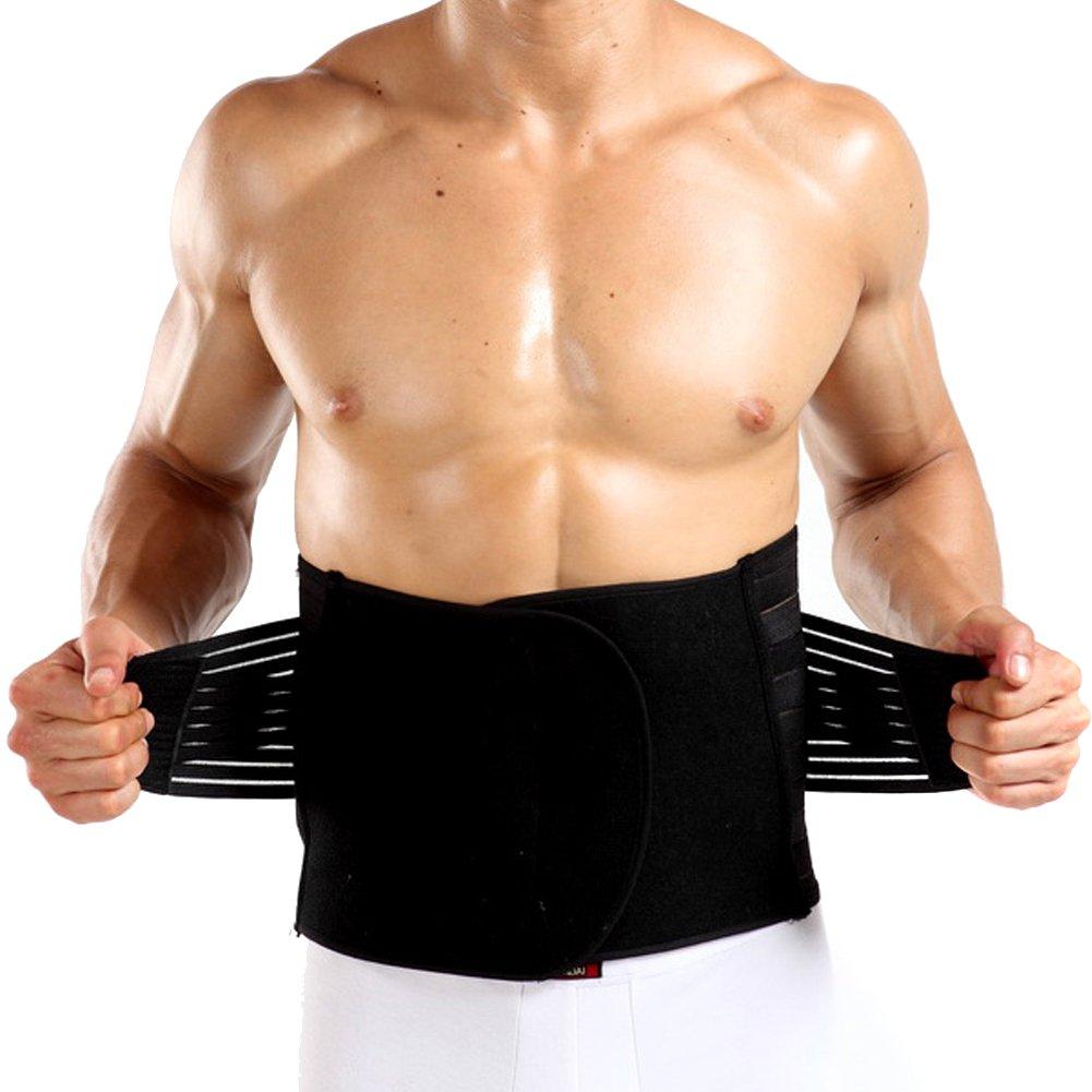 EUBUY Men's Waist Trainer Back Support Brace Belly Shaper Tummy Trimmer Belt (X-Large, Style 2 - Black)