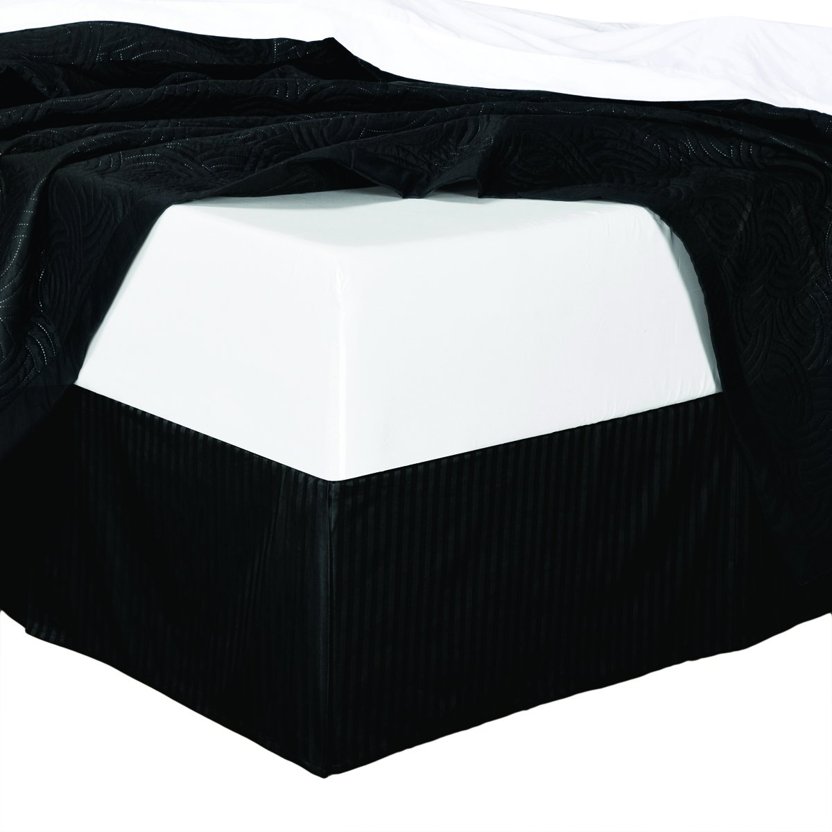 Full Striped Black Wrinkle-Free Microfiber Bed-Skirt, Pleated Tailored Bed Skirt with 14'' Drop, 95gsm, 100% Microfiber.